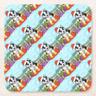Alaskan Malamute Puppy Square Paper Coaster