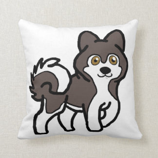 alaskan malamute seal and white cartoon throw pillow