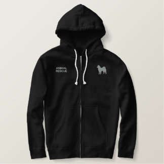 Alaskan Malamute Silhouette with Text Embroidered Hoodie