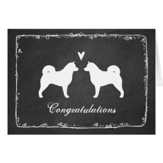 Alaskan Malamute Silhouettes Wedding Congrats Card