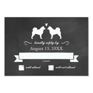 Alaskan Malamute Silhouettes Wedding Reply RSVP Card