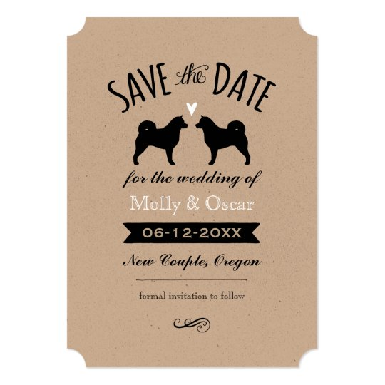 Alaskan Malamute Silhouettes Wedding Save the Date Card