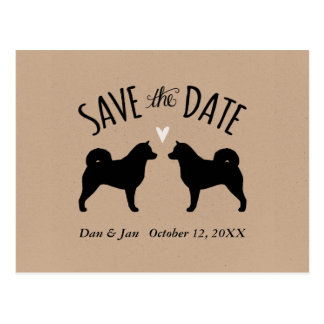 Alaskan Malamute Silhouettes Wedding Save the Date Postcard