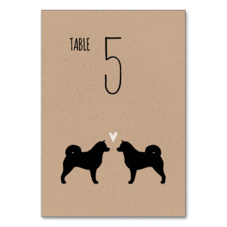 Alaskan Malamute Silhouettes Wedding Table Card