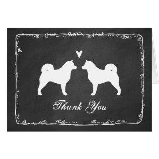 Alaskan Malamute Silhouettes Wedding Thank You Card