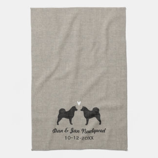 Alaskan Malamute Silhouettes with Heart and Text Kitchen Towel