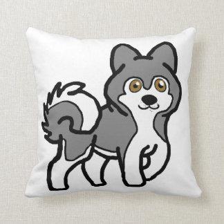 alaskan malamute silver and white cartoon throw pillow