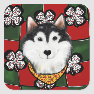 Alaskan-Malamute St. Patty Square Sticker