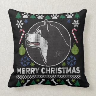Alaskan Malamute Ugly Christmas Sweater Dog Throw Pillow