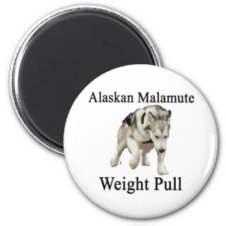 Alaskan Malamute Weight Pull 2 Inch Round Magnet
