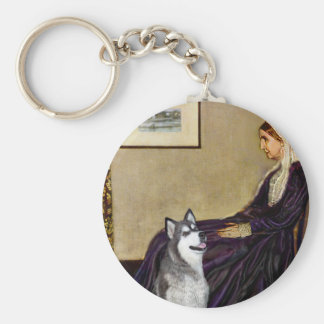 Alaskan Malamute - Whistlers Mother Basic Round Button Keychain
