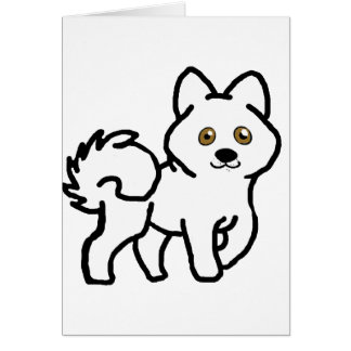 alaskan malamute white cartoon card
