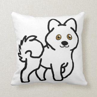 alaskan malamute white cartoon throw pillow