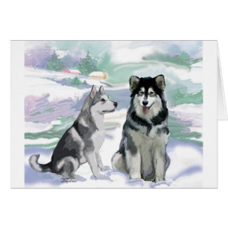 Alaskan Malamute Winter Scene Card