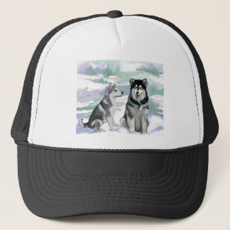Alaskan Malamute Winter Scene Trucker Hat