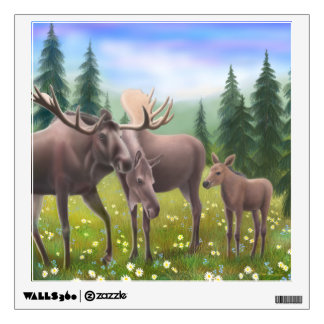 Alaskan Moose Family Wall Decal