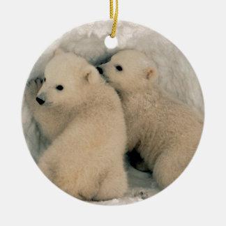 Alaskan Polar Bear Cubs Ceramic Ornament