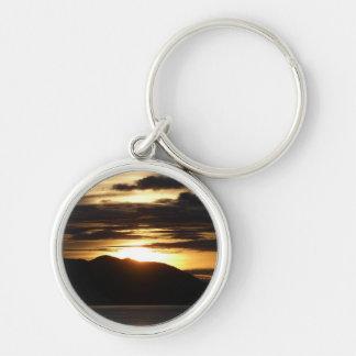 Alaskan Sunset III Beautiful Alaska Photography Silver-Colored Round Keychain
