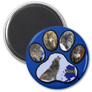 Alaskan Wolf Paw Print 2 Inch Round Magnet