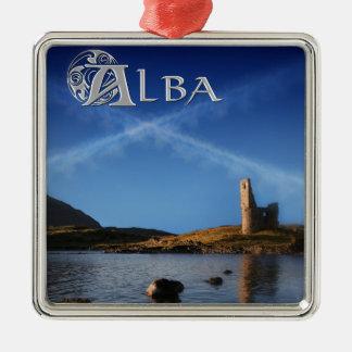 Alba, Scotland, Caledonia Silver-Colored Square Ornament