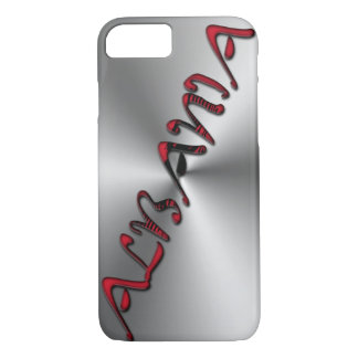 Albania Albanian Flag Color Typography Silver iPhone 8/7 Case