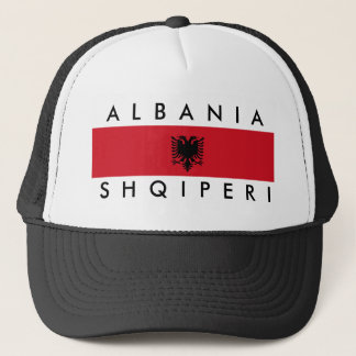 albania country long flag nation symbol name trucker hat