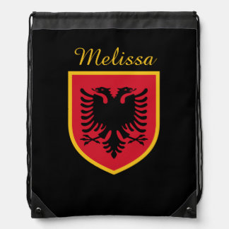 Albania Flag Drawstring Bag