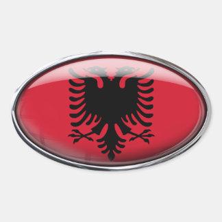 Albania Flag Glass Oval Oval Sticker