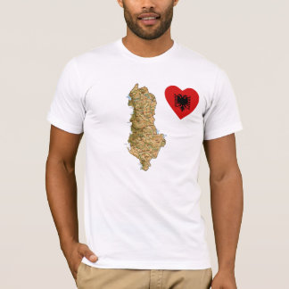 Albania Flag Heart and Map T-Shirt