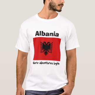 Albania Flag + Map + Text T-Shirt