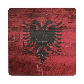 Albania Flag on Old Wood Grain Drink Coaster Puzzle