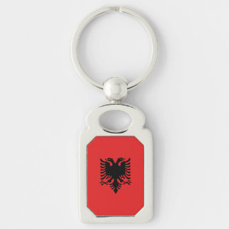 Albania Flag Silver-Colored Rectangle Keychain
