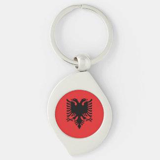 Albania Flag Silver-Colored Swirl Keychain
