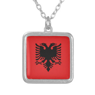 Albania Flag Silver Plated Necklace