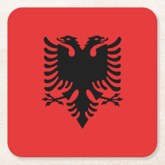 Albania Flag Square Paper Coaster