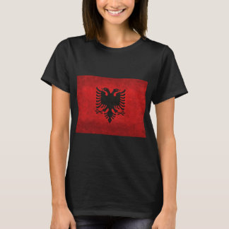 Albania Flag Traited With Grungy Retro Vintage T-Shirt