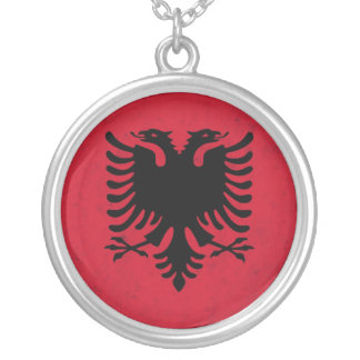 Albania Grunge Flag Silver Plated Necklace
