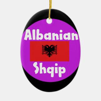 Albania Language And Flag Design Ceramic Ornament