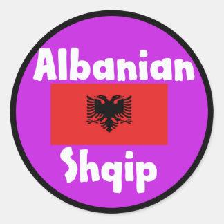 Albania Language And Flag Design Classic Round Sticker