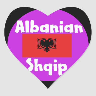 Albania Language And Flag Design Heart Sticker