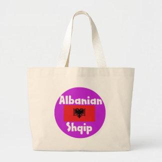 Albania Language And Flag Design Large Tote Bag