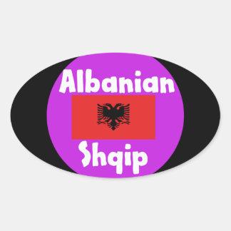 Albania Language And Flag Design Oval Sticker