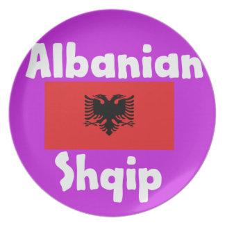 Albania Language And Flag Design Plate
