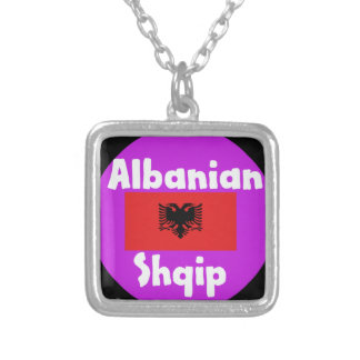 Albania Language And Flag Design Silver Plated Necklace