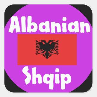 Albania Language And Flag Design Square Sticker