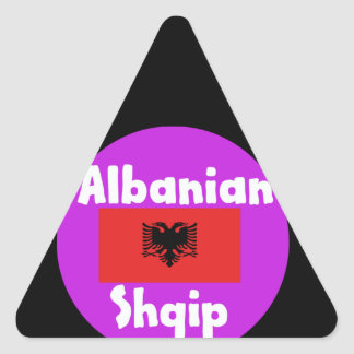Albania Language And Flag Design Triangle Sticker