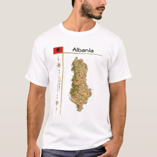 Albania Map + Flag + Title T-Shirt