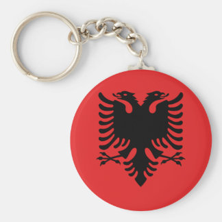 Albania National World Flag Basic Round Button Keychain