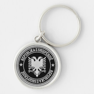 Albania Round Emblem Silver-Colored Round Keychain