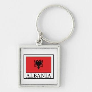 Albania Silver-Colored Square Keychain